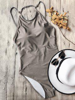 Open Back High Neck One Piece Swimsuit - Khaki M