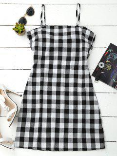 Slip Tie Back Plaid Dress - Black White L