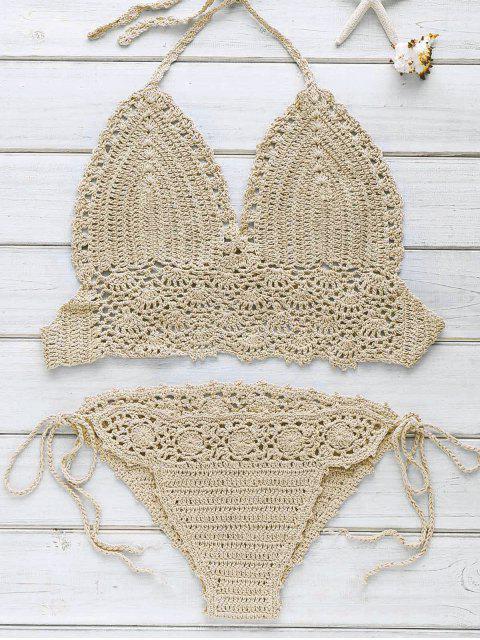 Halter-Handarbeit Crochet Bikini Set - Khaki Einheitsgröße(Geeign Mobile