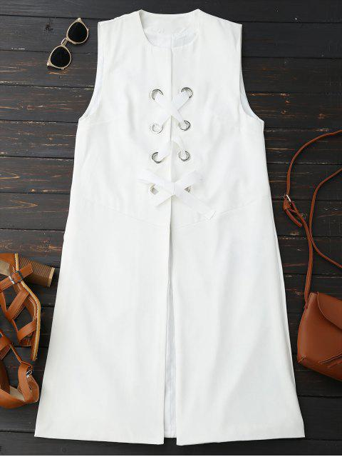 outfits Back Slit Lace Up Longline Waistcoat - WHITE M Mobile