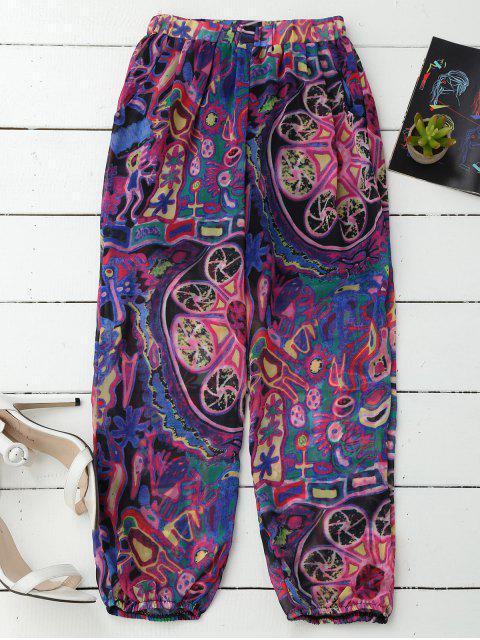 Pantalons capri de plage bouffants imprimés - Pourpre XL Mobile