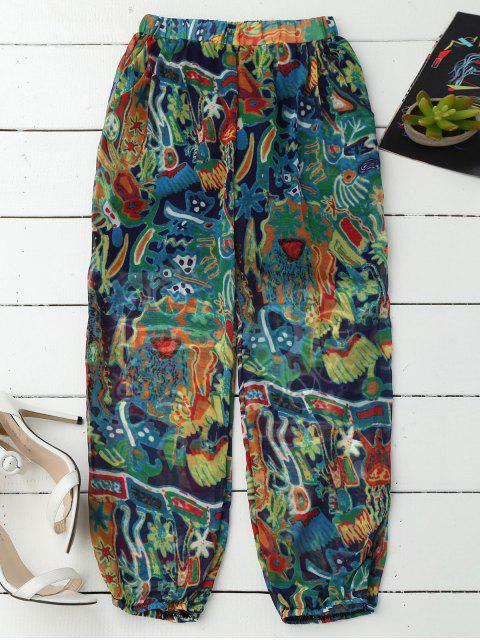 Pantalons capri de plage bouffants imprimés - Bleu M Mobile