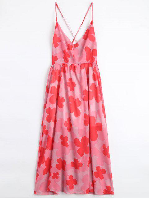 affordable Four-Leaf Clovers Print Backless Beach Dress - PINK L Mobile