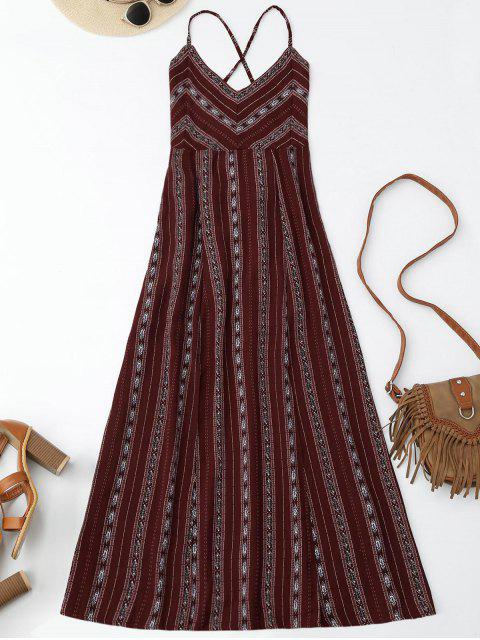 hot Slit Stripe Lace Up Backless Maxi Dress - WINE RED S Mobile
