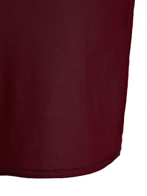 Robe enveloppe plissée asymétrique à bretelles spaghettis - Rouge vineux  L Mobile