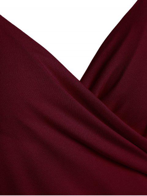 sale Spaghetti Strap Ruched Asymmetric Bodycon Dress - WINE RED L Mobile