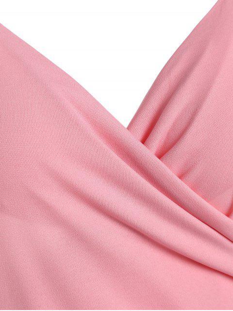 buy Spaghetti Strap Ruched Asymmetric Bodycon Dress - PINK XL Mobile