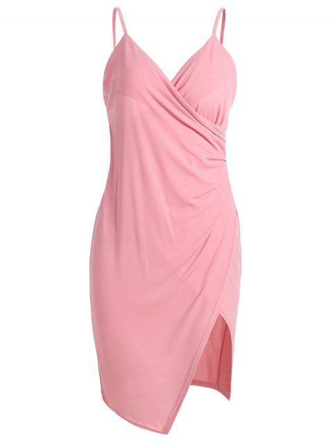 womens Spaghetti Strap Ruched Asymmetric Bodycon Dress - PINK L Mobile