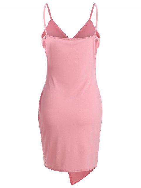 women Spaghetti Strap Ruched Asymmetric Bodycon Dress - PINK M Mobile