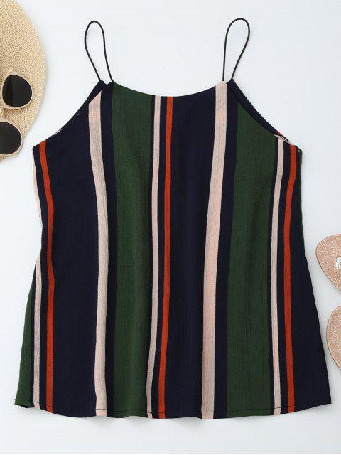 hot Elastic Straps Striped Tank Top - STRIPE M Mobile
