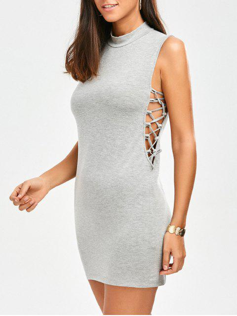 fancy Tank Lace Up Bodycon Dress - GRAY ONE SIZE Mobile