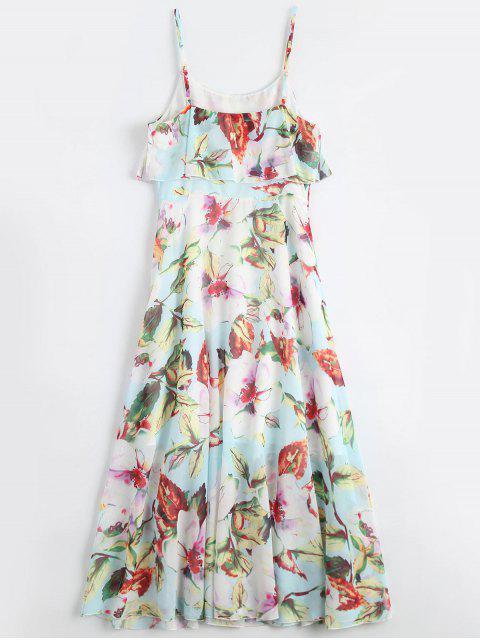 affordable Floral Ruffle Spaghetti Strap Bohemian Dress - FLORAL M Mobile