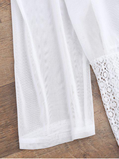 womens Mesh Panel Lace Kimono Cover Up - WHITE ONE SIZE Mobile