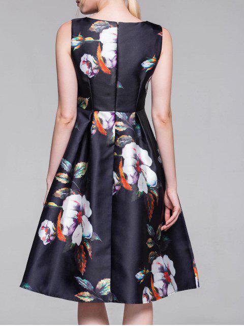 buy Flared Vintage Dress - PURPLISH BLUE M Mobile