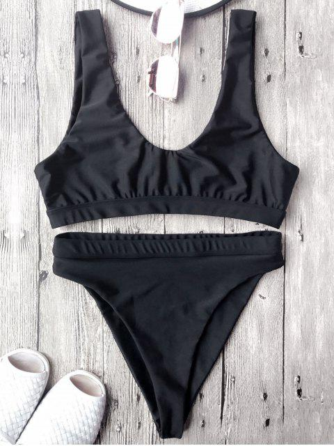 Hoher Schnitt Rundhalsausschnitt Bikini Set - Schwarz S Mobile