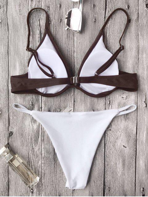 latest Push Up Plunge String Bikini Set - WHITE AND COFFEE S Mobile