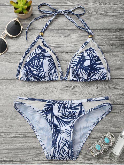 Ensemble de bikini inséré maille imprimé feuille à col halter - Bleu et Blanc M Mobile