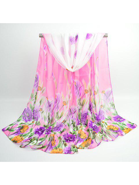 Flores de lujo floreciente bufanda chal chifón - Rosa  Mobile