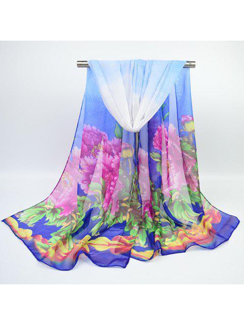 Chiffon pintado a mano Peony impreso bufanda - Azul Zafiro  Mobile