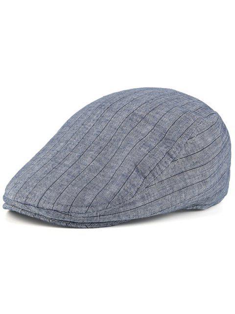 Gestreifte Vintage Street Wear Flat Hat - Blaugrau  Mobile