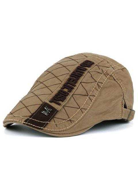 Buchstaben Rhombic Plaid Stickerei Flat Hat - Khaki  Mobile