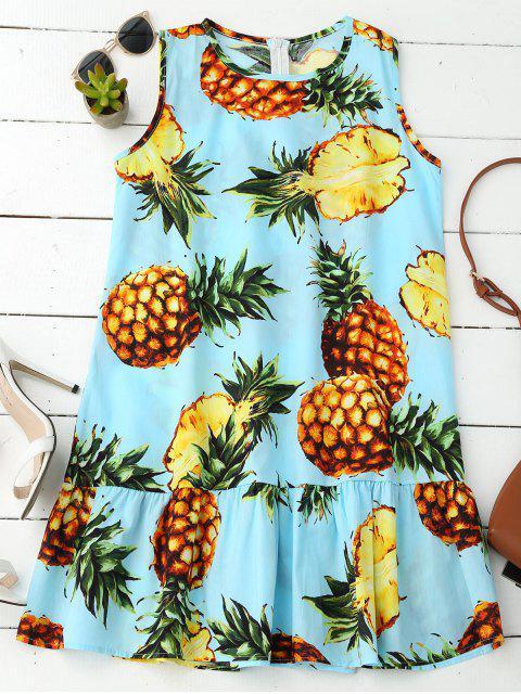trendy Sleeveless Ruffle Hem Pineapple Dress - COLORMIX XL Mobile