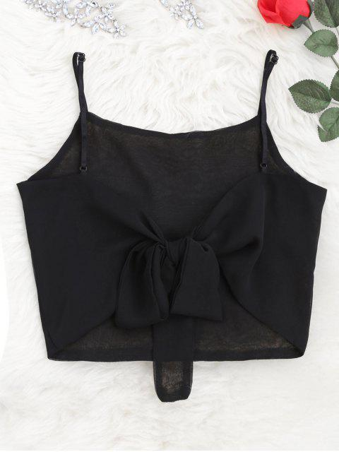 outfit Cropped Back Bowknot Tank Top - BLACK ONE SIZE Mobile