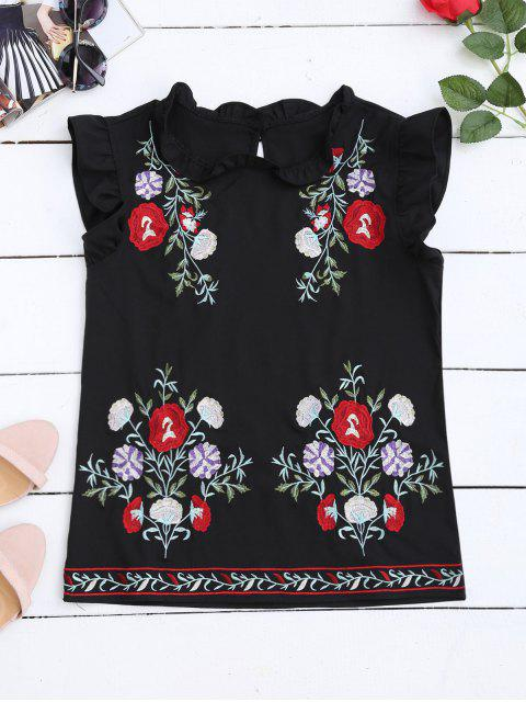 shops Ruffles Floral Embroidered Tank Top - BLACK L Mobile