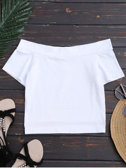 chic Cotton Cropped Off The Shoulder Top - WHITE M Mobile