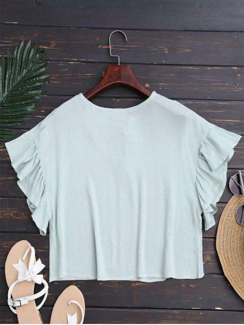 ladies Ruffles Cropped Lace Up Top - LIGHT GREEN M Mobile