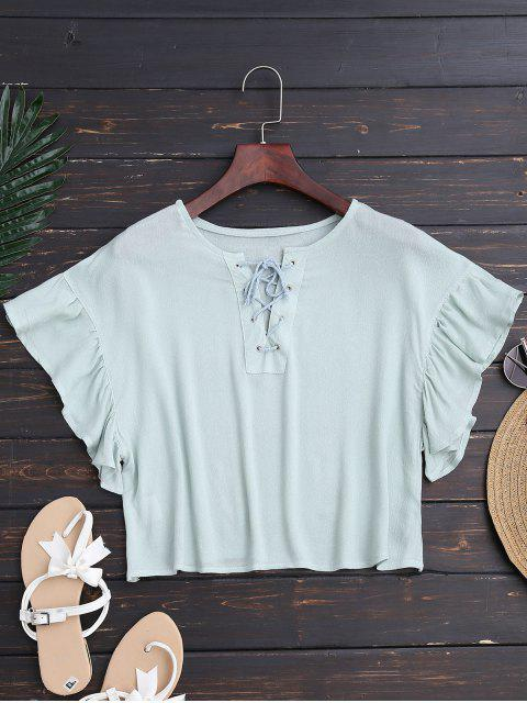 lady Ruffles Cropped Lace Up Top - LIGHT GREEN L Mobile