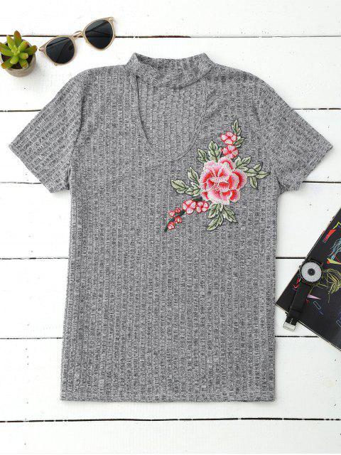 Halsband Besticktes Blumen Geripptes Top - Grau M Mobile