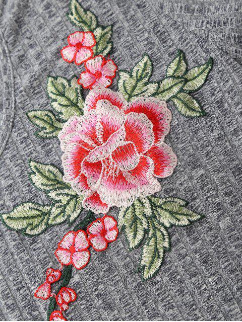 shop Choker Embroidered Flower Ribbed Top - GRAY XL Mobile