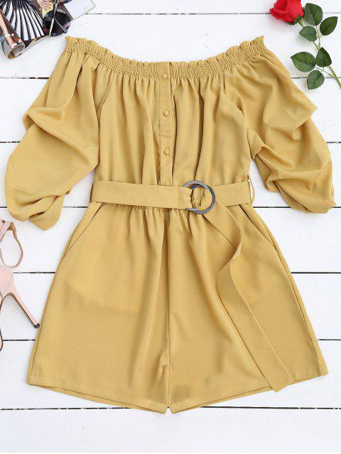 womens Belted Off The Shoulder Romper - YELLOW M Mobile