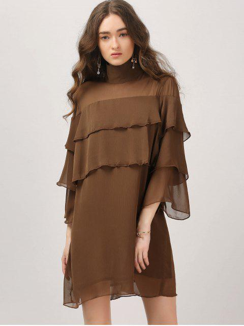 women Layered Ruffles Casual Dress - DARK COFFEE S Mobile
