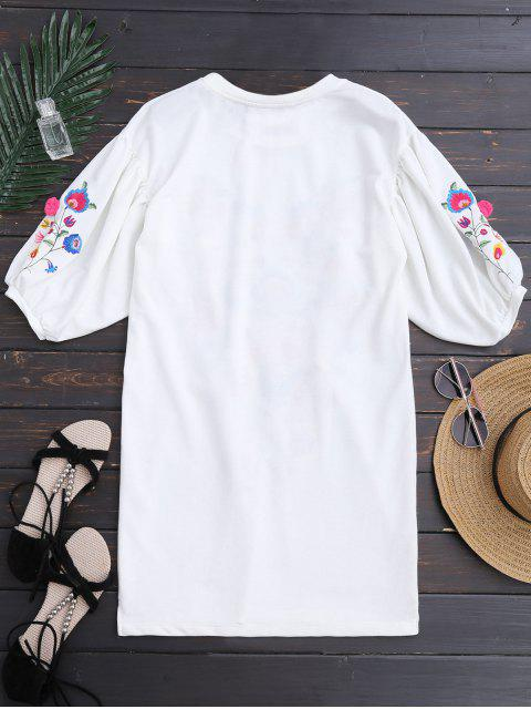 shops Dolman Sleeve Floral Embroidered Straight Dress - WHITE S Mobile