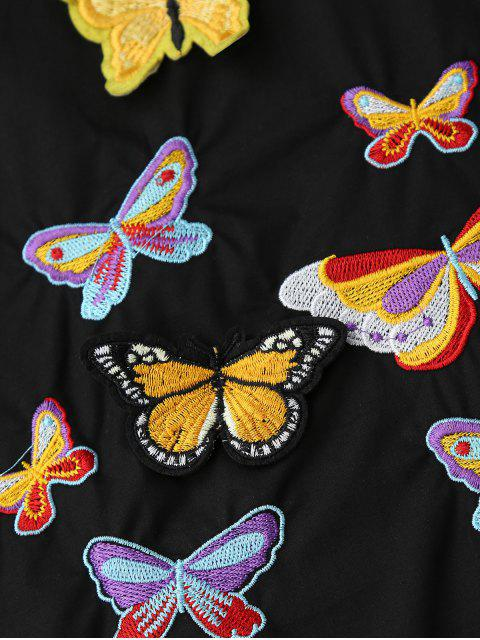 online Embroidered Butterfly Tunic Shirt Dress - BLACK S Mobile
