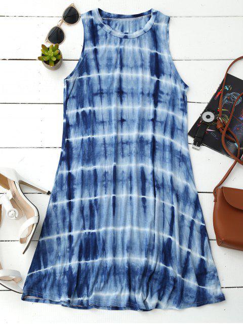 trendy Tie Dye Cotton Blend Tank Dress - BLUE XL Mobile