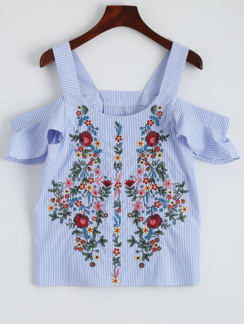 ladies Striped Embroidered Cold Shoulder Top - STRIPE M Mobile