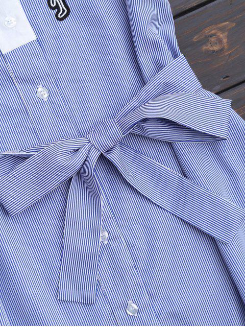 chic Belted Stripes Shirt Dress - STRIPE L Mobile