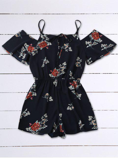 Kalte Schulter Blumen Cami Spielanzug - Schwarzblau L Mobile