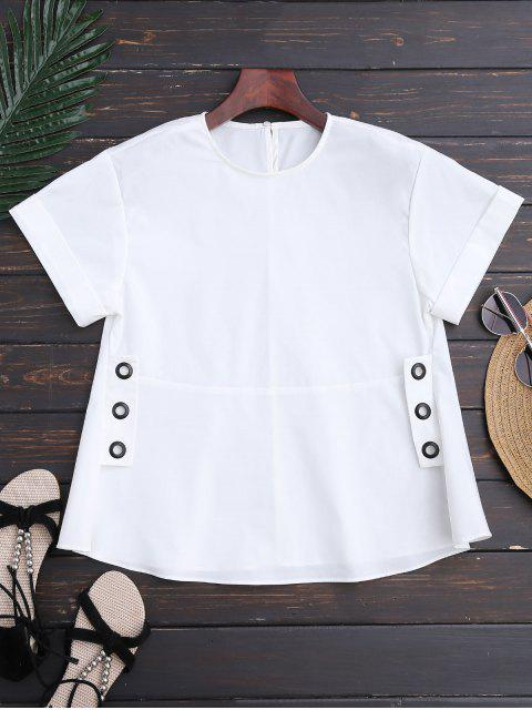 outfits Belted Lace Up Poplin Top - WHITE L Mobile