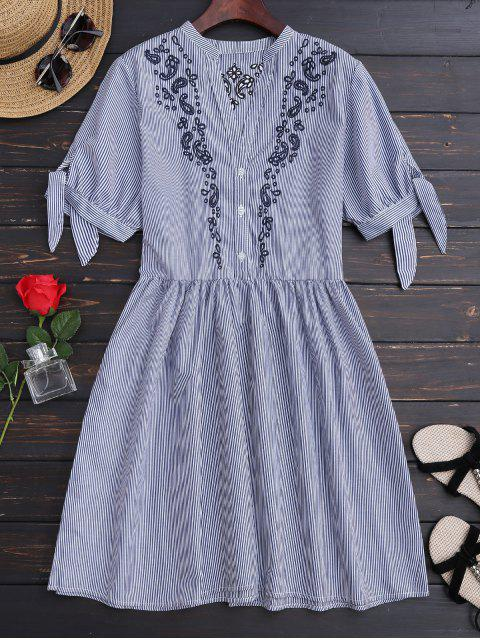 latest Stripes Embroidered Casual Dress - STRIPE M Mobile