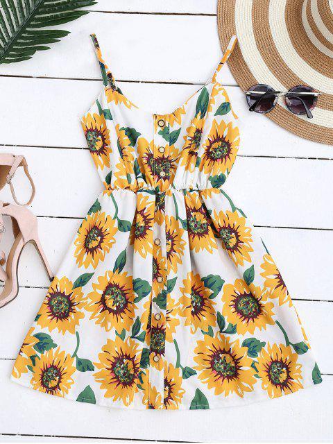 Mini Vestido Floral de Bata con Tirantes Finos con Botones - Blanco Única Talla Mobile