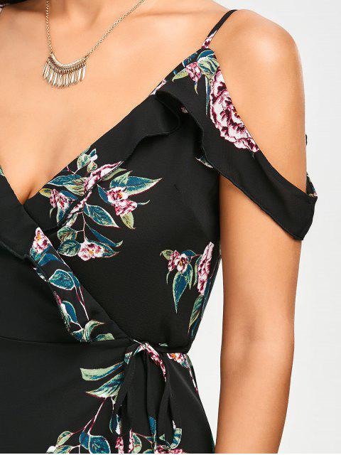 online Floral Cold Shoulder Wrap Dress - FLORAL M Mobile