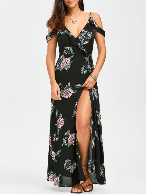 online Floral Cold Shoulder Wrap Dress - FLORAL M Mobile