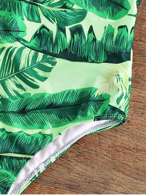 Maillot de bain une-pièce paddé dos nu col plongeant imprimé palmier - Jaune-vert L Mobile