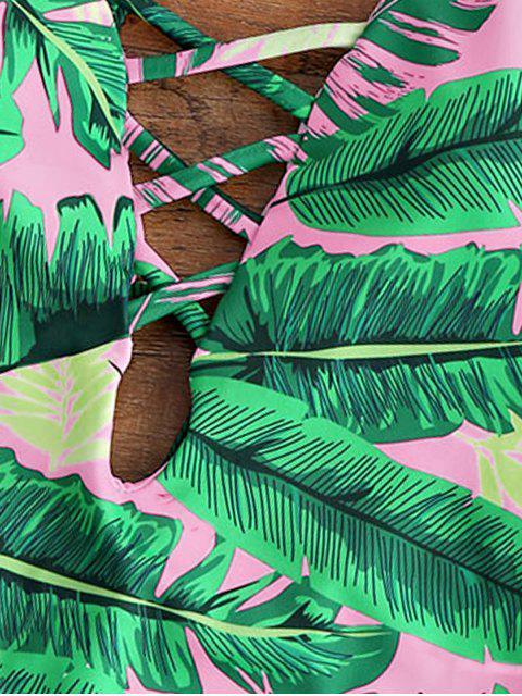 Maillot de bain une-pièce paddé dos nu col plongeant imprimé palmier - Rose Clair M Mobile
