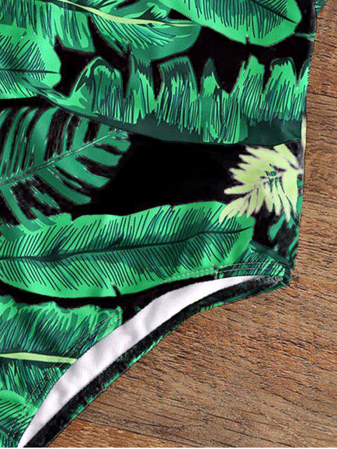 Maillot de bain une-pièce paddé dos nu col plongeant imprimé palmier - Noir M Mobile