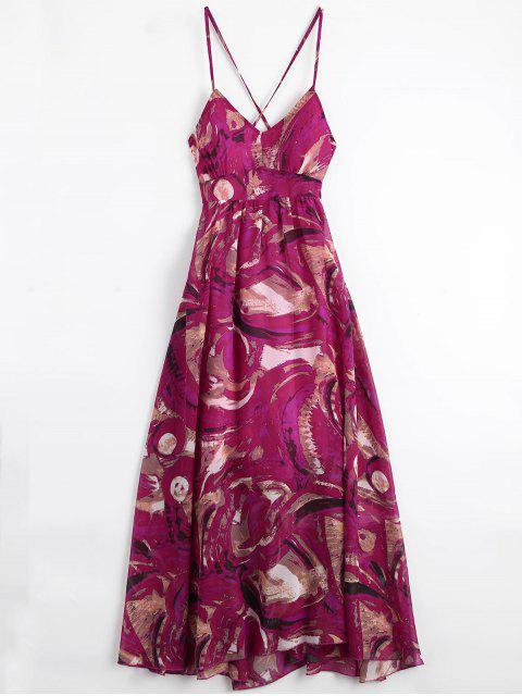 Bohemian Lace Up Vestido de vacaciones con estampado acolchado - Multicolor L Mobile